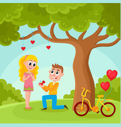 Young man proposing to pretty girl in park vector