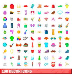 100 decor icons set cartoon style vector
