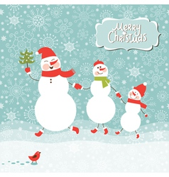A family of three snowmen vector
