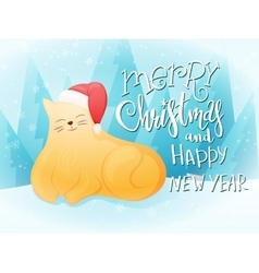 Flat style fat ginger cat vector