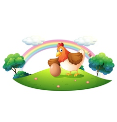 A chicken with an egg vector image
