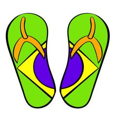 Brazilian flip flops icon cartoon vector
