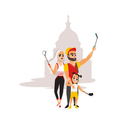 Family makes selfie on mosque background vector
