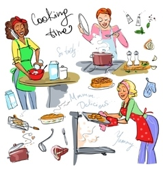 Housewifes cooking vector