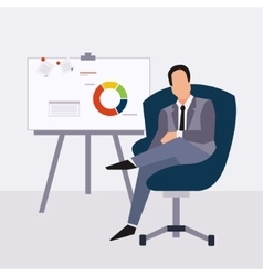 Businessman presenting on paperboard and handle vector