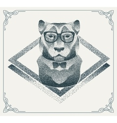 Halftone hipster tiger with black dots vector