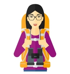 Cheerful backpacker with binoculars vector