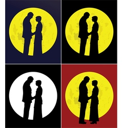 Couple and full moon vector