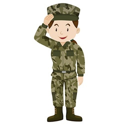 Female soldier in green uniform vector