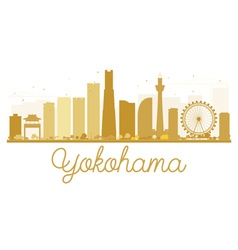 Yokohama city skyline golden silhouette vector