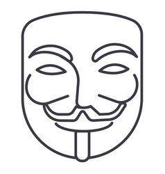 anonymousmask carnivalhacker line icon vector image