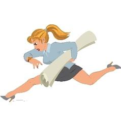Cartoon girl running with paper in her hand vector image