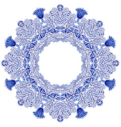Circular ornament in gzhel style blue floral vector