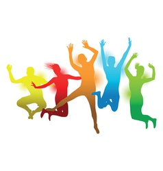 colourful jumping people vector image vector image