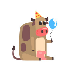 Cute cartoon cow in a party hat sitting and vector