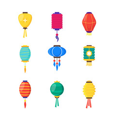east chinese paper street or house lanterns set vector image vector image