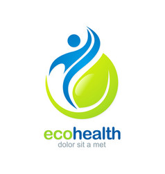 eco health abstract fitness logo vector image vector image
