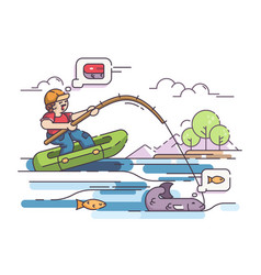 Fisherman in rubber boat vector