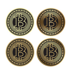 golden bitcoin - set of cryptocurrency vector image vector image