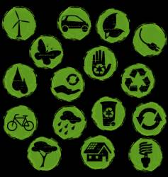 grunge eco symbols button vector image vector image