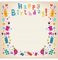 Happy birthday border lined paper retro card vector