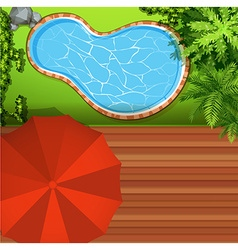 Hawkeye view of swimming pool vector