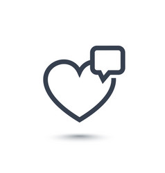 Heart like with notification line icon on white vector