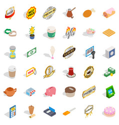 Hot coffee icons set isometric style vector