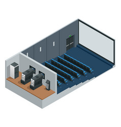 Isometric cinema theater with blank screen vector