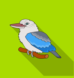 Kookaburra sitting on branch icon in flat style vector