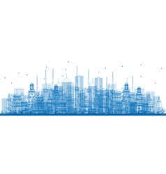 Outline city skyscrapers and buildings vector