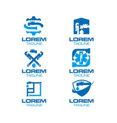 plumbing logo set vector image vector image