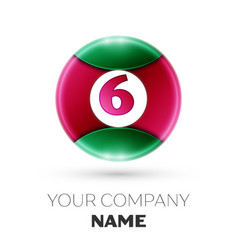Realistic number six symbol in colorful circle vector
