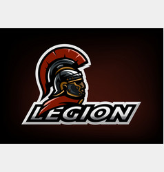 Roman legionnaire logo on a dark background vector