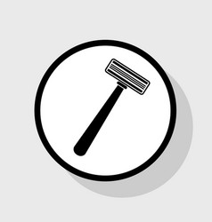 Safety razor sign flat black icon in vector