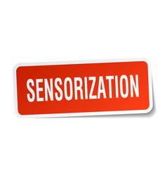 Sensorization square sticker on white vector
