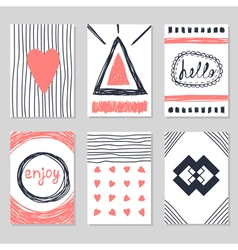 Set of vintage cards with romantic hand drawn vector image vector image