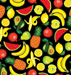 Set with fruits avocado watermelon banana lemon vector