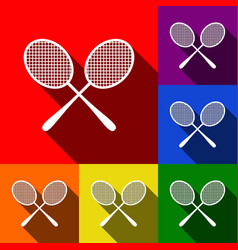 Tennis racquets sign set of icons with vector