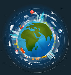 The earth and different buildings and vehicles vector