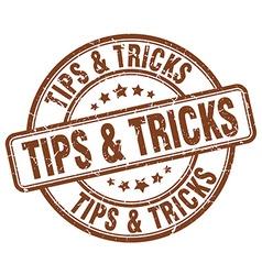 tips tricks brown grunge round vintage rubber vector image