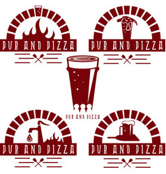 vintage labels set of pub and pizza vector image vector image