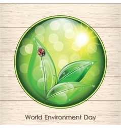 World environment day sign on wooden texture vector image vector image