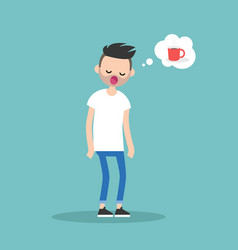 Young exhausted character yawning and thinking vector