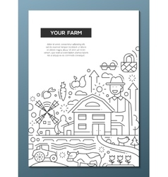 Your Farm - line design brochure poster template vector image vector image