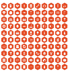 100 grocery shopping icons hexagon orange vector