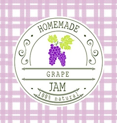 Jam label design template for grape dessert vector image