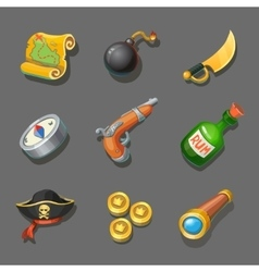 Pirate icons set set of corsair items different vector
