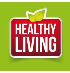 Healthy living button red vector