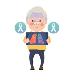 Senior man have lung cancer ribbon awareness vector